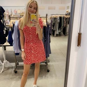 Abercrombie red floral mini dress